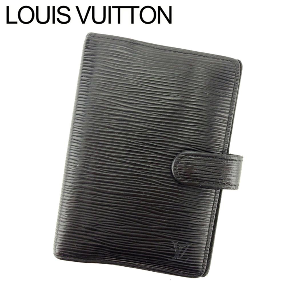 【中古】 ルイ ヴィトン Louis Vuitton 手帳カバー システム手帳カバー メンズ可 アジェンダPM エピ ブラック エピレザー 人気 セール T7591 .