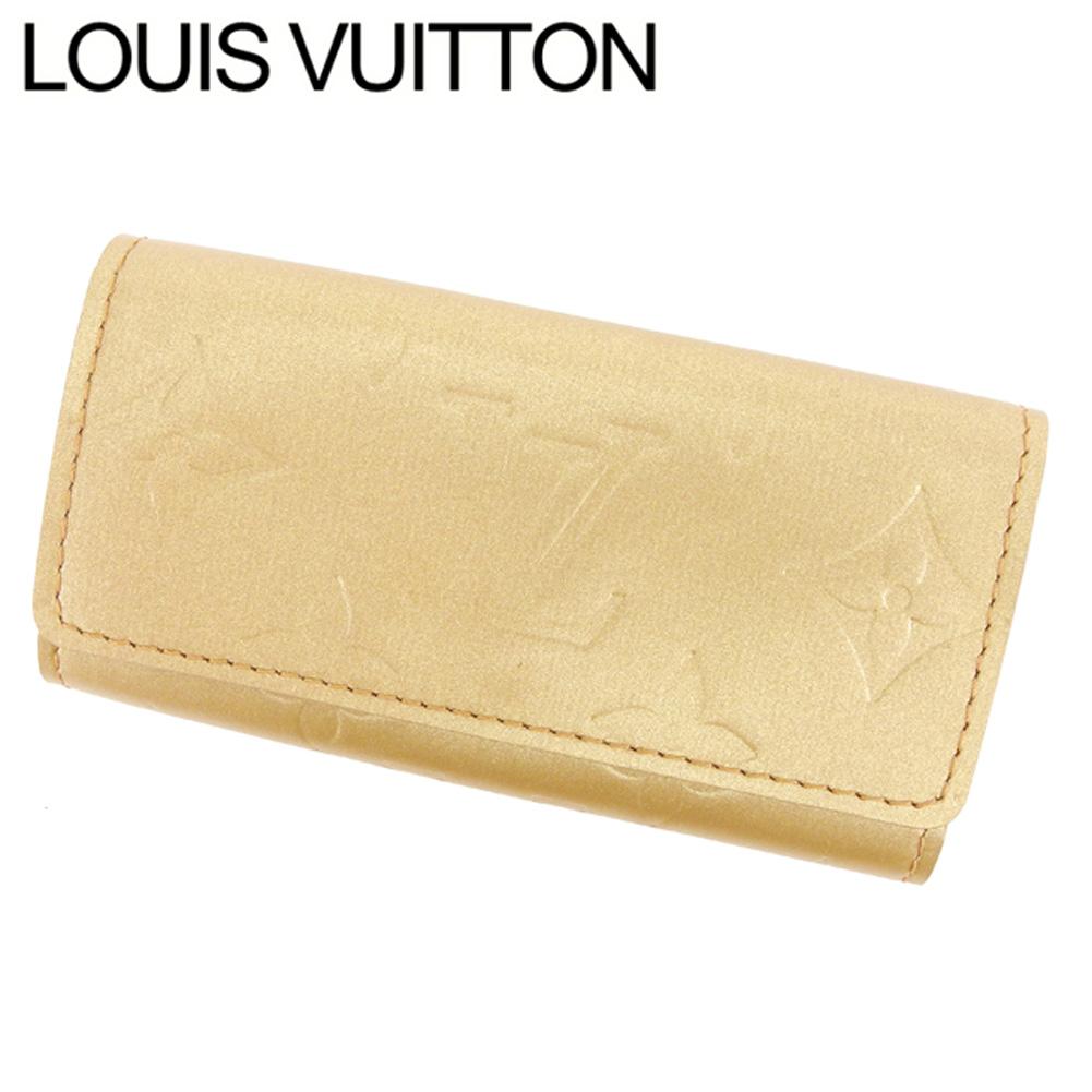 【中古】 ルイ ヴィトン Louis Vuitton キーケース 4連 メンズ可 ミュルティクレ4 モノグラムマット ゴールド レザ- 美品 セール T7664