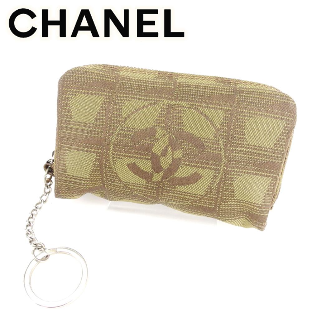 【中古】 シャネル CHANEL コインケース 小銭入れ メンズ可 ニュートラベルライン ブラウン ナイロンジャガード 美品 セール T7665