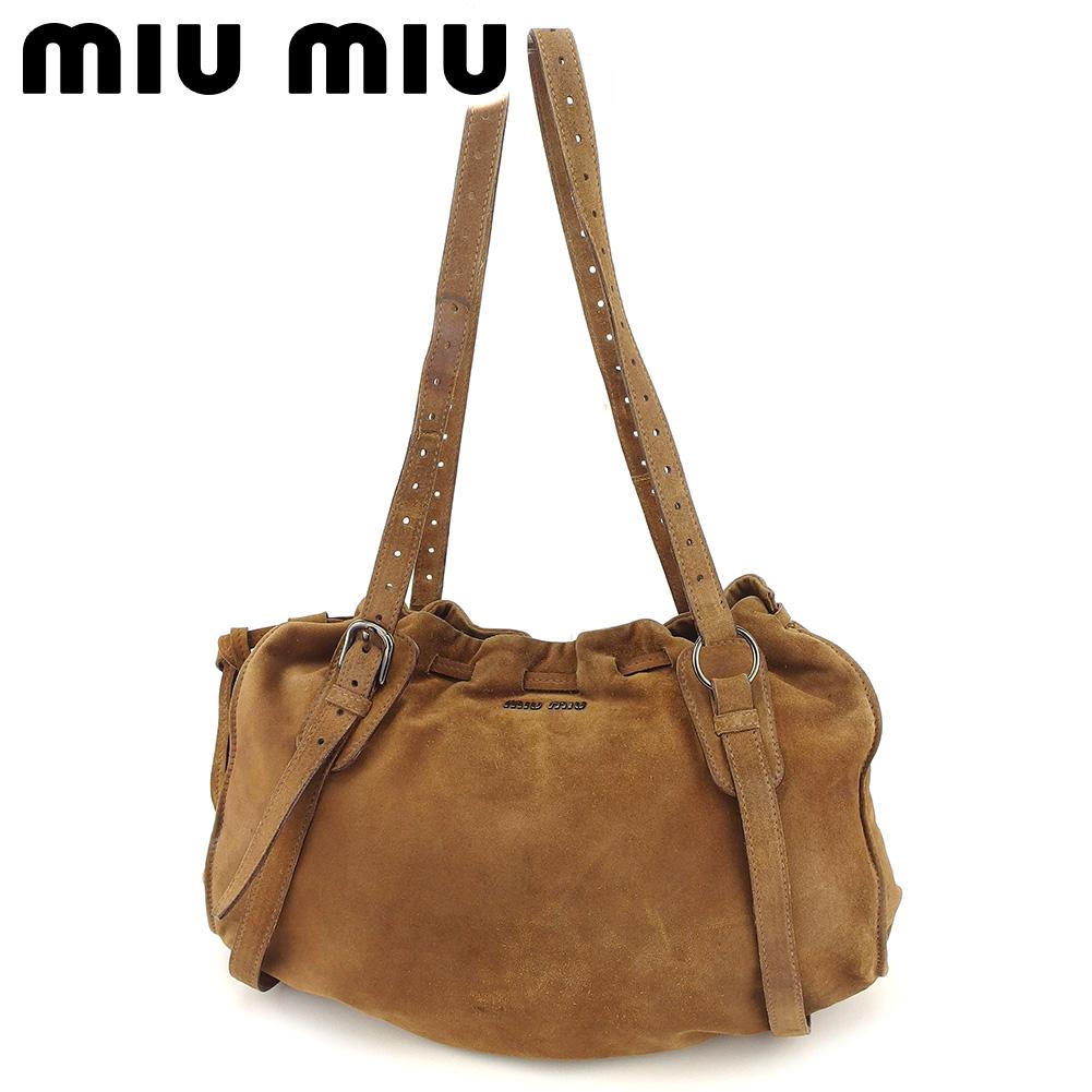 【中古】 ミュウミュウ miu miu トートバッグ ワンショルダー レディース  ブラウン スエード 人気 セール T8272