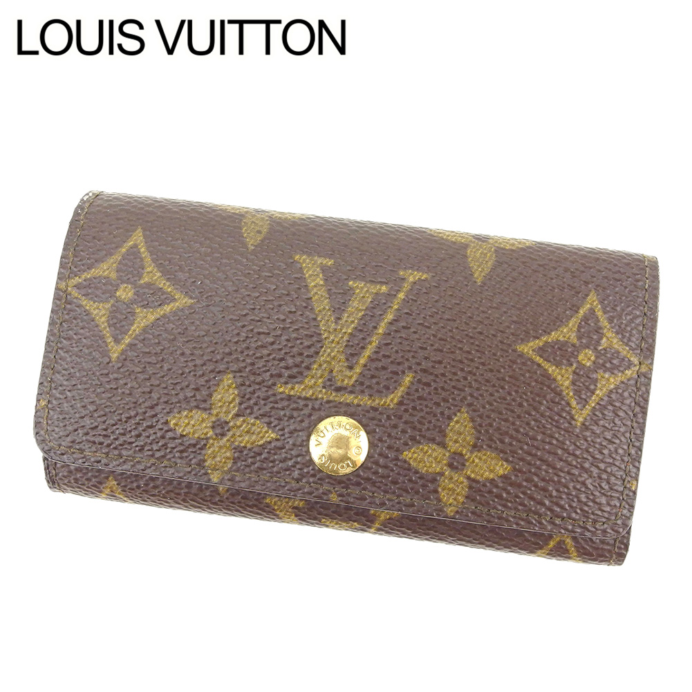 【中古】 ルイ ヴィトン LOUIS VUITTON キーケース 4連キーケース レディース メンズ 可 ミュルティクレ4 モノグラム ブラウン モノグラムキャンバス 人気 セール T8280 .