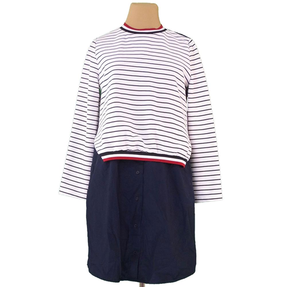 e6ed170ae73 Quite common basic ZARA BASIC dress docking fake lei yards lady's  horizontal stripe white white black ...