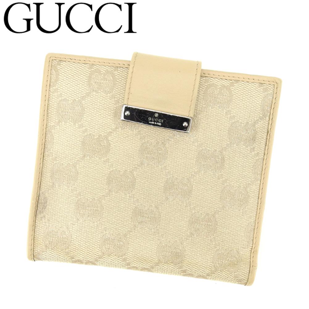 【中古】 グッチ GUCCI Wホック財布 二つ折り 財布 レディース GG柄 ベージュ キャンバス×レザー 人気 セール E1281 .