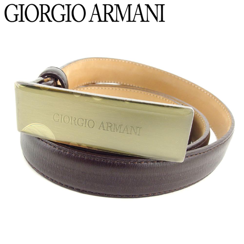 【中古】 ジョルジオアルマーニ GIORGIO ARMANI ベルト レディース ブラウン レザー E1288 .
