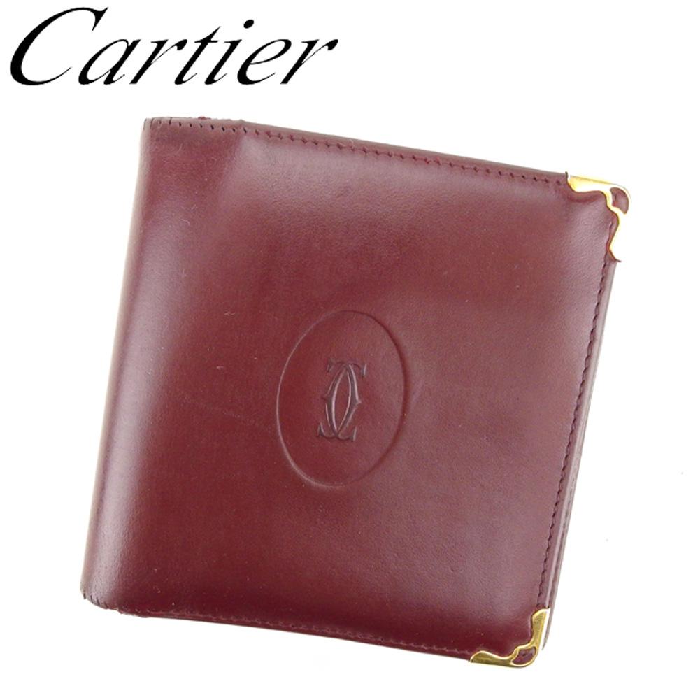 【中古】 カルティエ Cartier 二つ折り 財布 レディース メンズ マストライン ボルドー レザー 人気 セール G1269 .