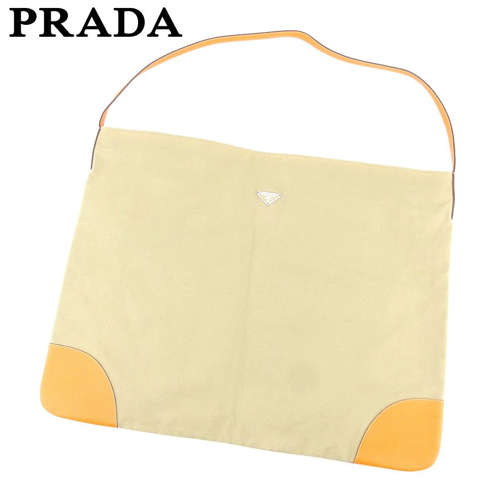 【中古】 プラダ PRADA ショルダーバッグ ワンショルダー レディース メンズ  ベージュ オレンジ キャンバス×レザー 人気 セール H602 .