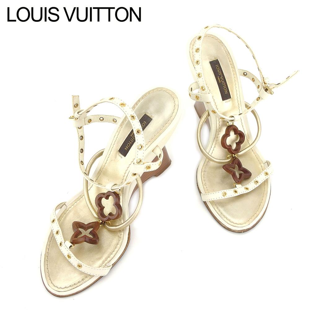 【中古】 ルイ ヴィトン LOUIS VUITTON サンダル シューズ 靴 レディース #34ハーフ ホワイト 白 ゴールド エナメルレザー H604 .