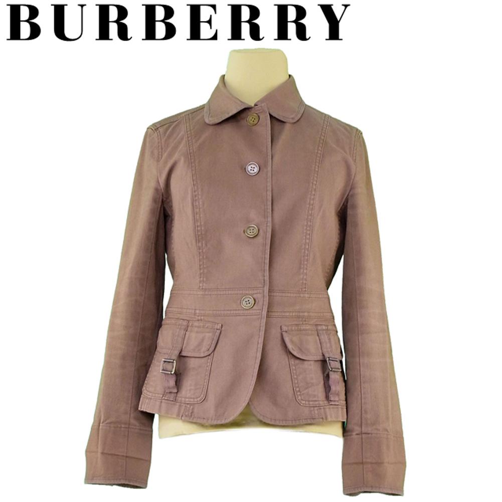 【中古】 バーバリー BURBERRY ジャケット パイピング付き レディース ♯40サイズ シングルボタン ブラウン ゴールド コットン 綿 ポリウレタン 人気 セール H620