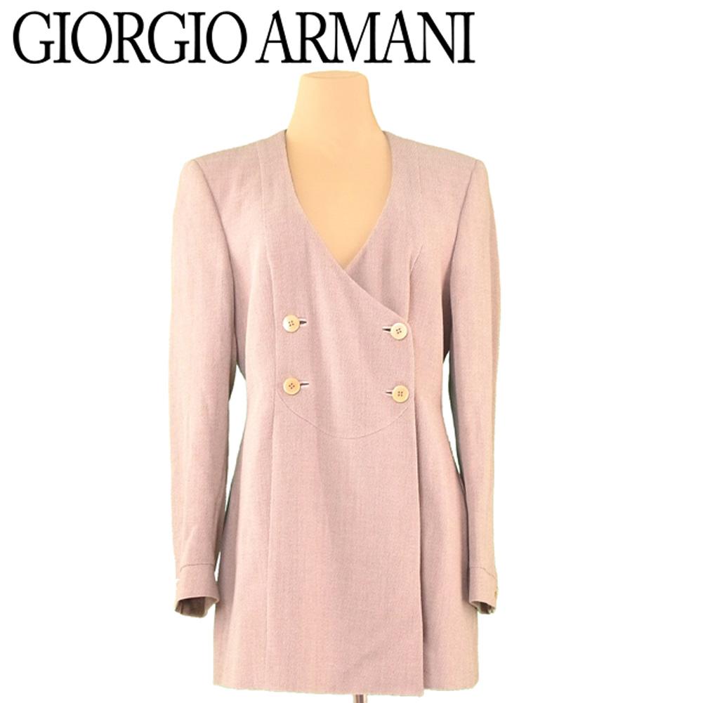 【中古】 ジョルジオ アルマーニ GIORGIO ARMANI ジャケット ノーカラー レディース ♯42サイズ ダブル ベージュ ウール ナイロン 人気 セール H626