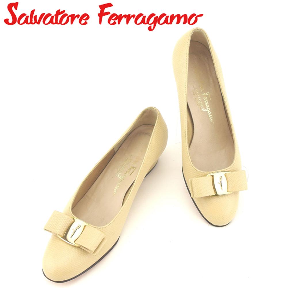 【中古】 サルヴァトーレ フェラガモ Salvatore Ferragamo パンプス シューズ 靴 レディース ♯5ハーフB リザード調 ベージュ ゴールド 型押しレザー L2459