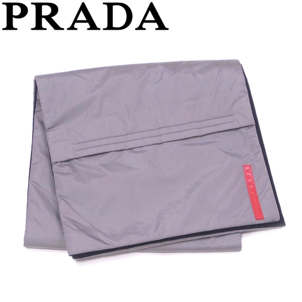【中古】 プラダ PRADA マフラー ポケット付き レディース メンズ グレー 灰色 ブラック レッド ナイロン ポリエステル Q510