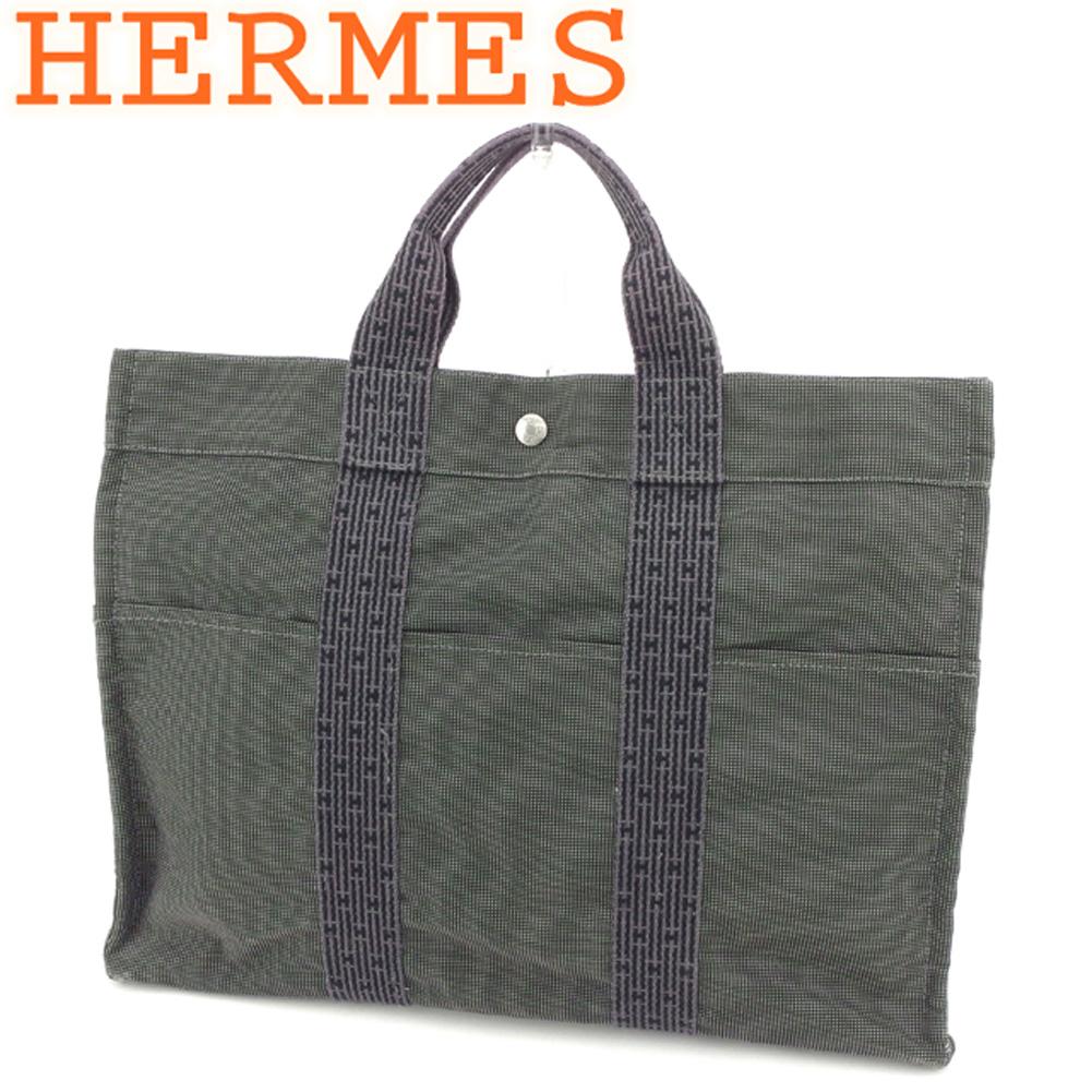 【中古】 エルメス HERMES トートバッグ ハンドバッグ レディース メンズ  ブラック グレー 灰色 キャンバス 人気 セール S884 .
