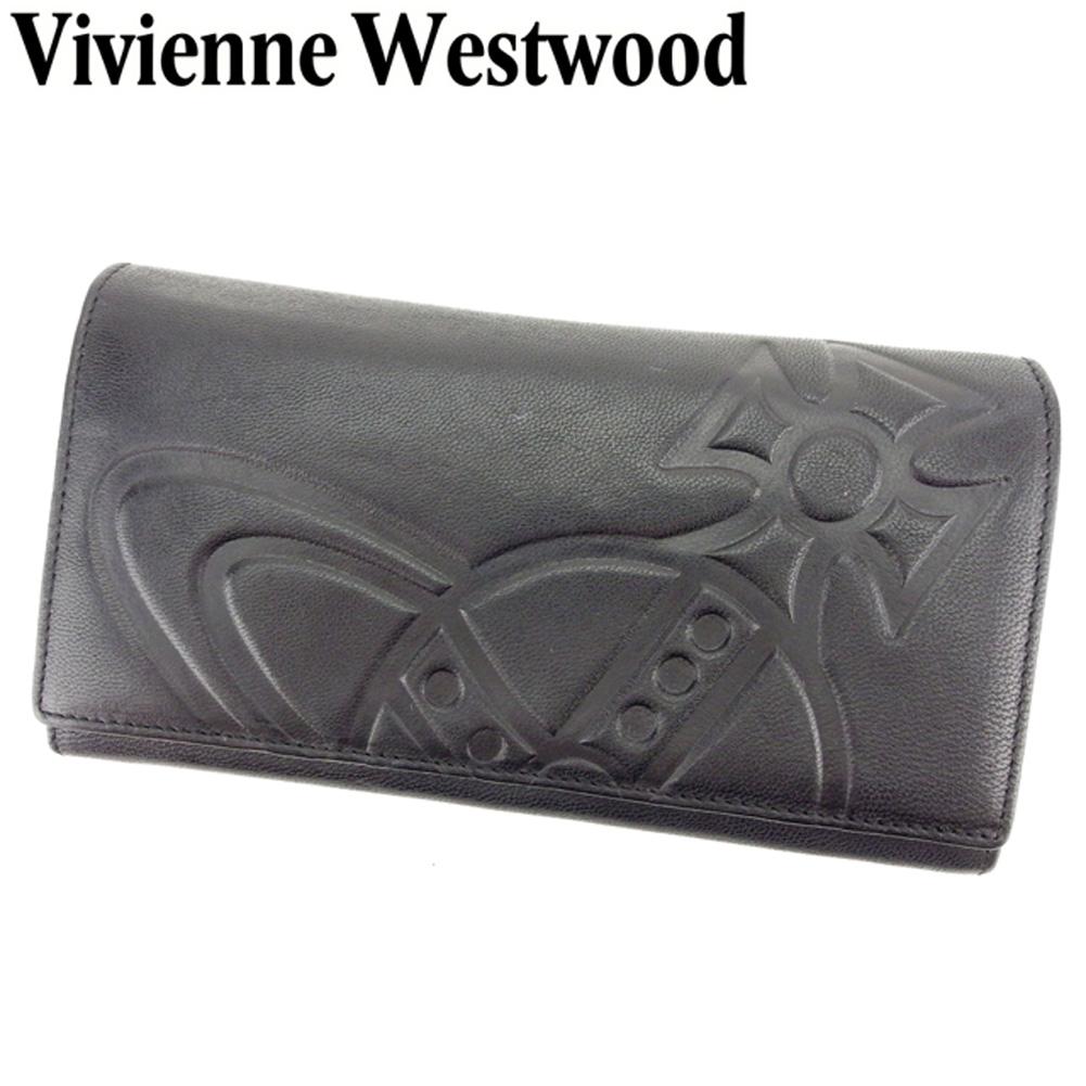 【中古】 ヴィヴィアン ウエストウッド Vivienne Westwood 長財布 ファスナー付き 長財布 レディース メンズ オーブ ブラック レザー 人気 セール S892 .