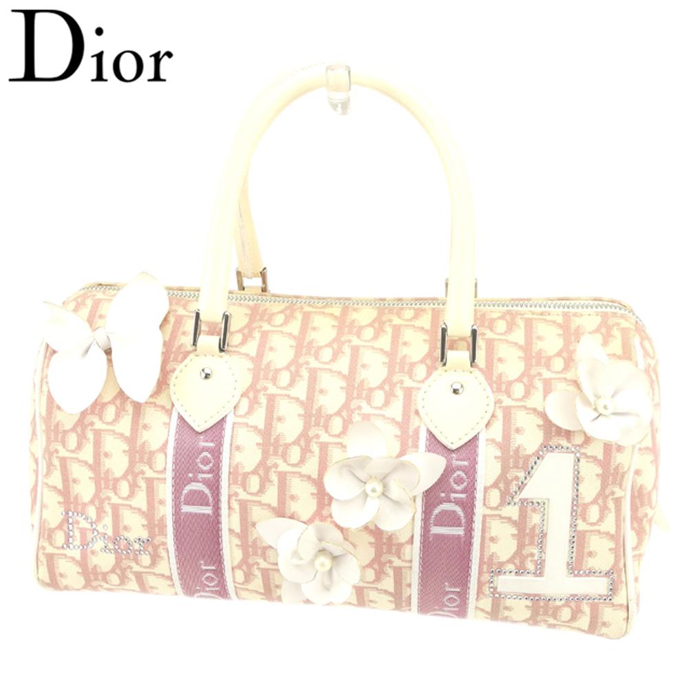 【中古】 ディオール Dior ハンドバッグ ミニボストンバッグ レディース トロッター ピンク ホワイト 白 キャンバス×エナメル 人気 セール S893 .