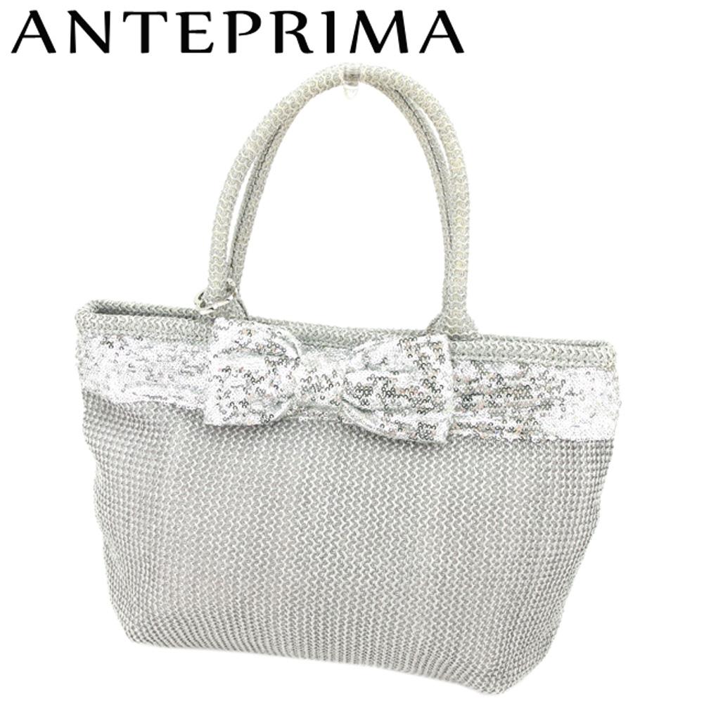 【中古】 アンテプリマ ANTEPRIMA トートバッグ ハンドバッグ レディース  グレー 灰色 ストロー 人気 良品 S896 .