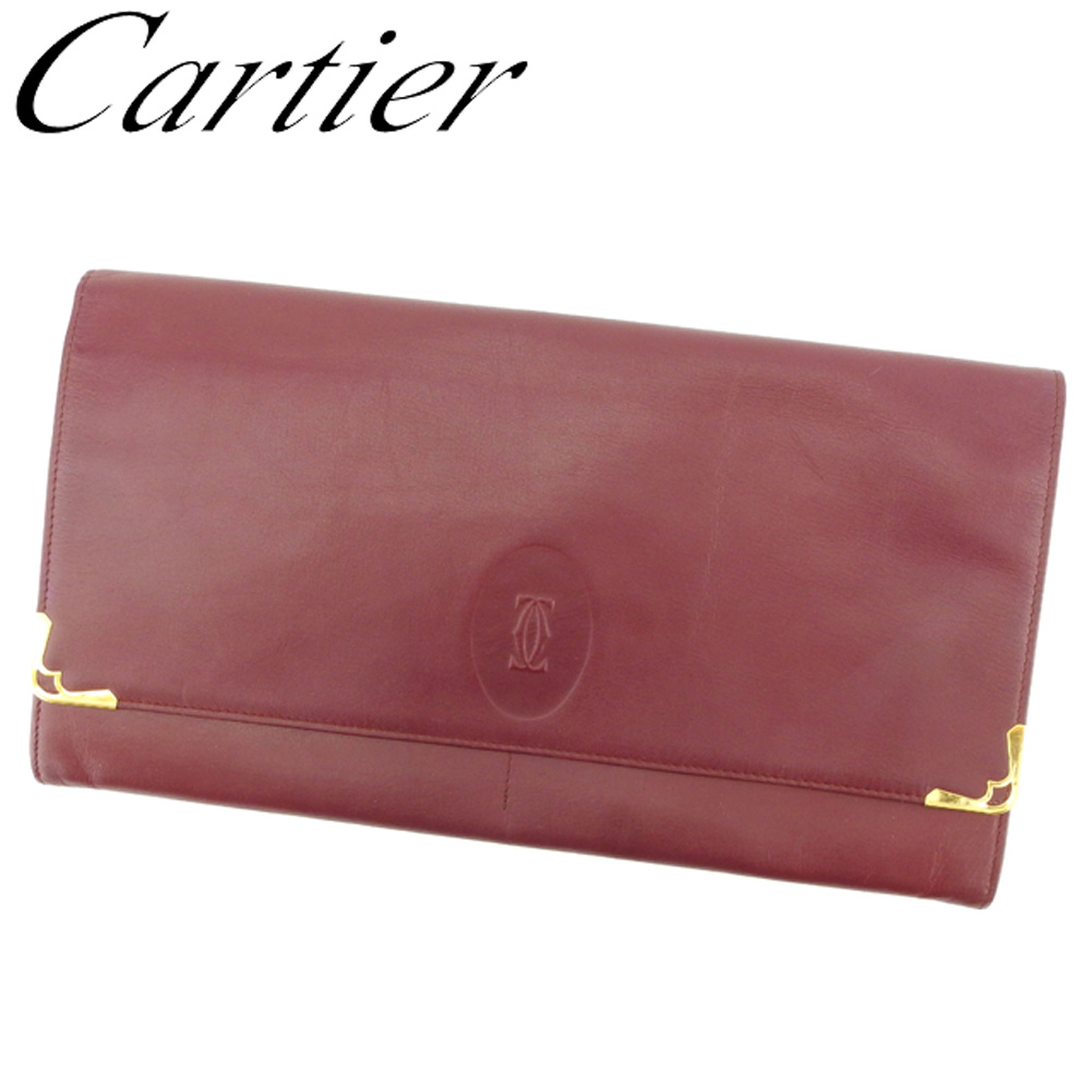 【中古】 カルティエ Cartier クラッチバッグ セカンドバッグ レディース メンズ マストライン ボルドー ゴールド レザー 人気 セール T8346 .