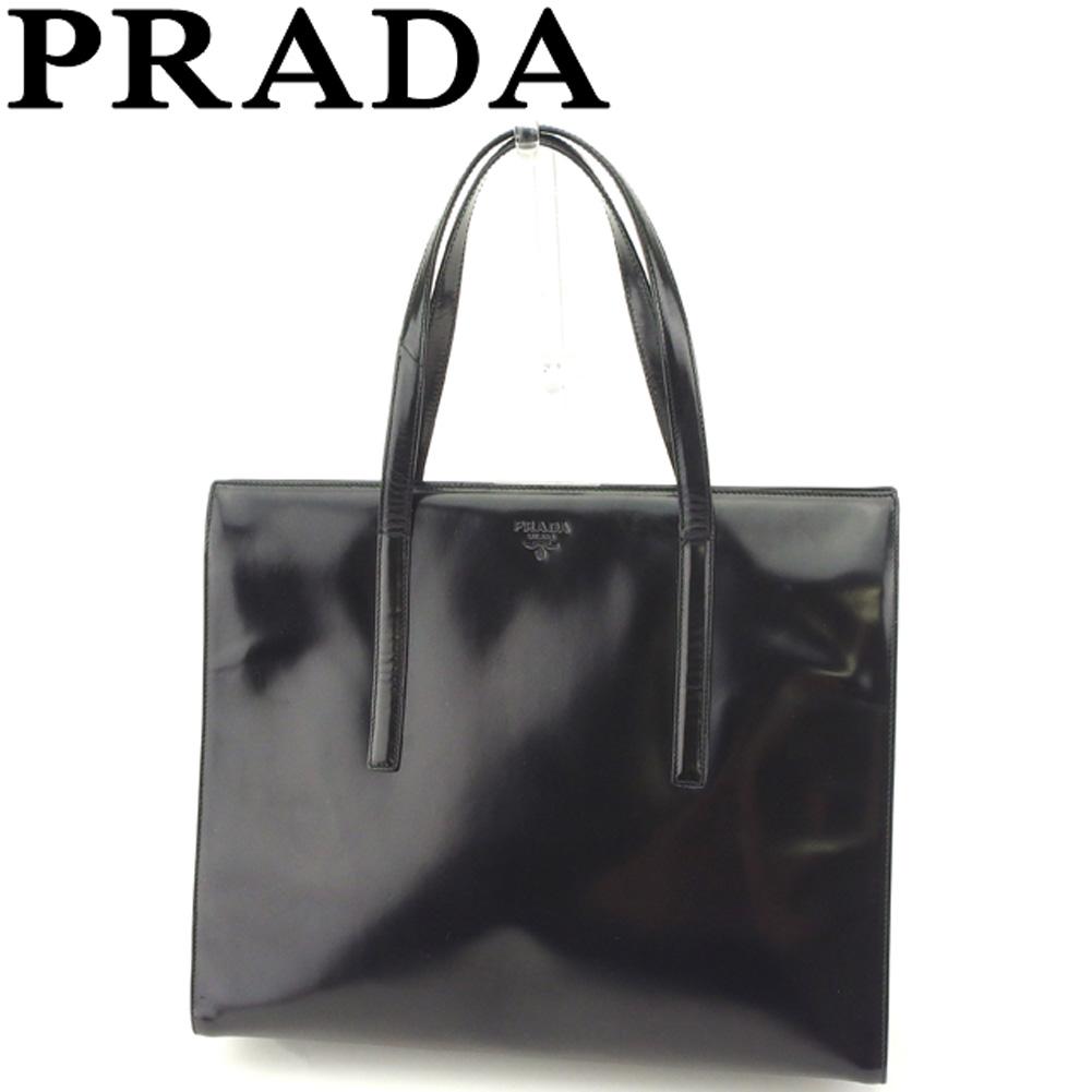 【中古】 プラダ PRADA トートバッグ ハンドバッグ レディース ロゴ ブラック シルバー エナメルレザー 人気 セール T8353 .
