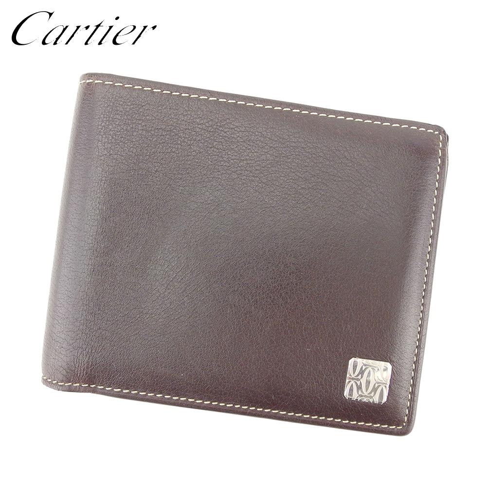 【中古】 カルティエ Cartier 二つ折り 札入れ 二つ折り 財布 レディース メンズ 2Cモチーフ ブラウン レザー 美品 セール T8395