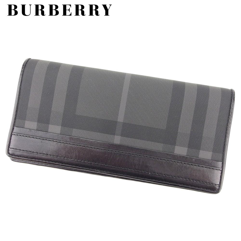 【中古】 バーバリー BURBERRY 長財布 ファスナー付き 長財布 レディース メンズ  ブラック PVC×レザー 人気 セール T8397 .