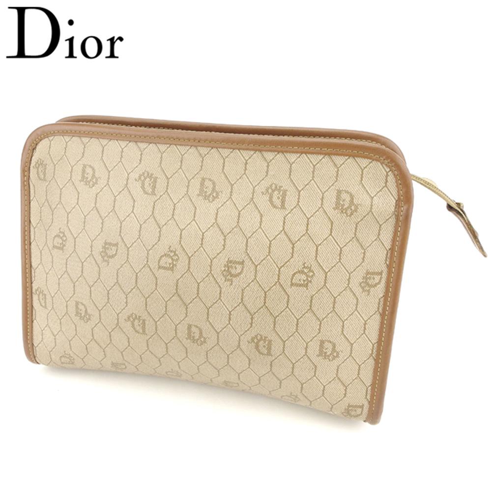 【中古】 ディオール Dior クラッチバッグ ポーチ セカンドバッグ レディース メンズ ヴィンテージディオール ベージュ PVC×レザー ヴィンテージ 人気 T8402 .