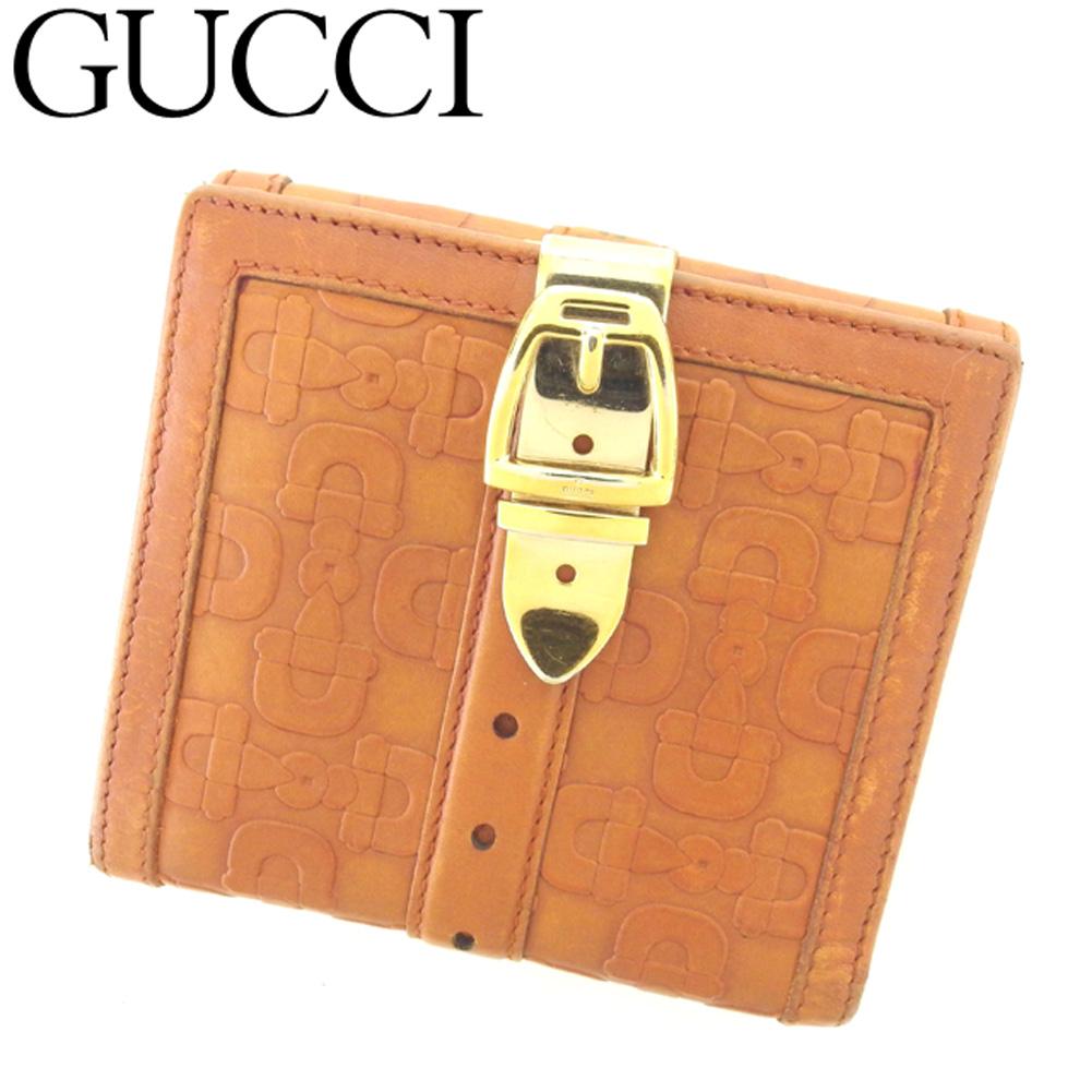 【中古】 グッチ GUCCI Wホック財布 二つ折り 財布 レディース メンズ ホースビット ブラウン レザー 人気 セール T8407 .