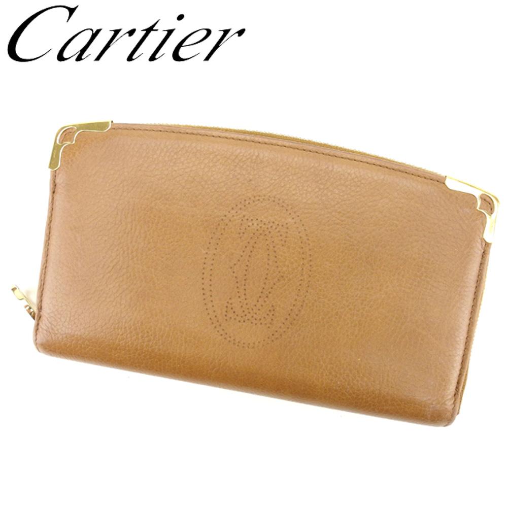 【中古】 カルティエ Cartier 長財布 ラウンドファスナー レディース メンズ マルチェロ ライトブラウン レザー 人気 良品 T8417 .