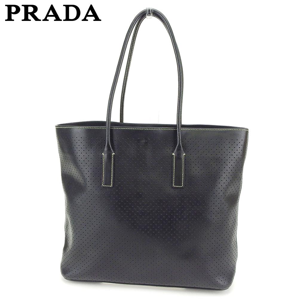 【中古】 プラダ PRADA トートバッグ ハンドバッグ レディース メンズ パンチング ブラック レザー 人気 セール T8421 .