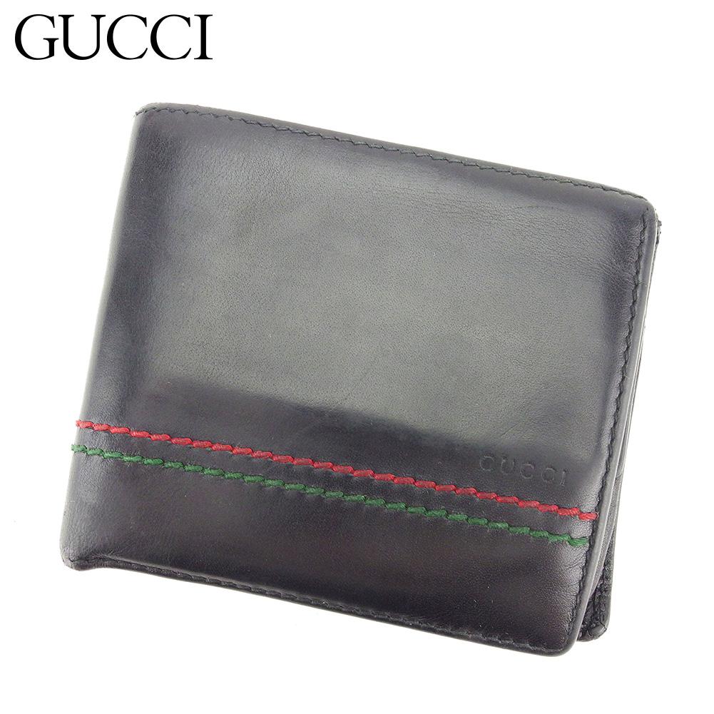 【中古】 グッチ GUCCI 二つ折り 財布 コンパクト レディース メンズ  ブラック レザー 人気 セール T8432 .
