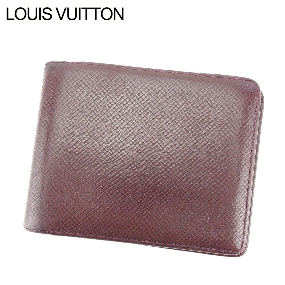 【中古】 ルイ ヴィトン LOUIS VUITTON 二つ折り 札入れ 二つ折り 財布 レディース メンズ ポルト ビエ・6カルト クレディ ボルドー PVC×レザー T8436