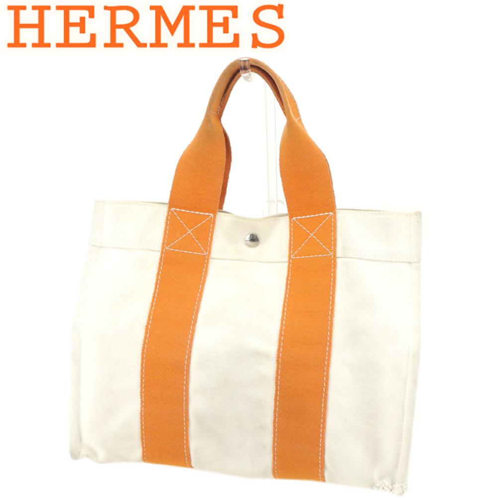 【中古】 エルメス HERMES トートバッグ ハンドバッグ レディース メンズ コキアージュPM ボラボラ ベージュ オレンジ キャンバス 人気 セール T8452 .