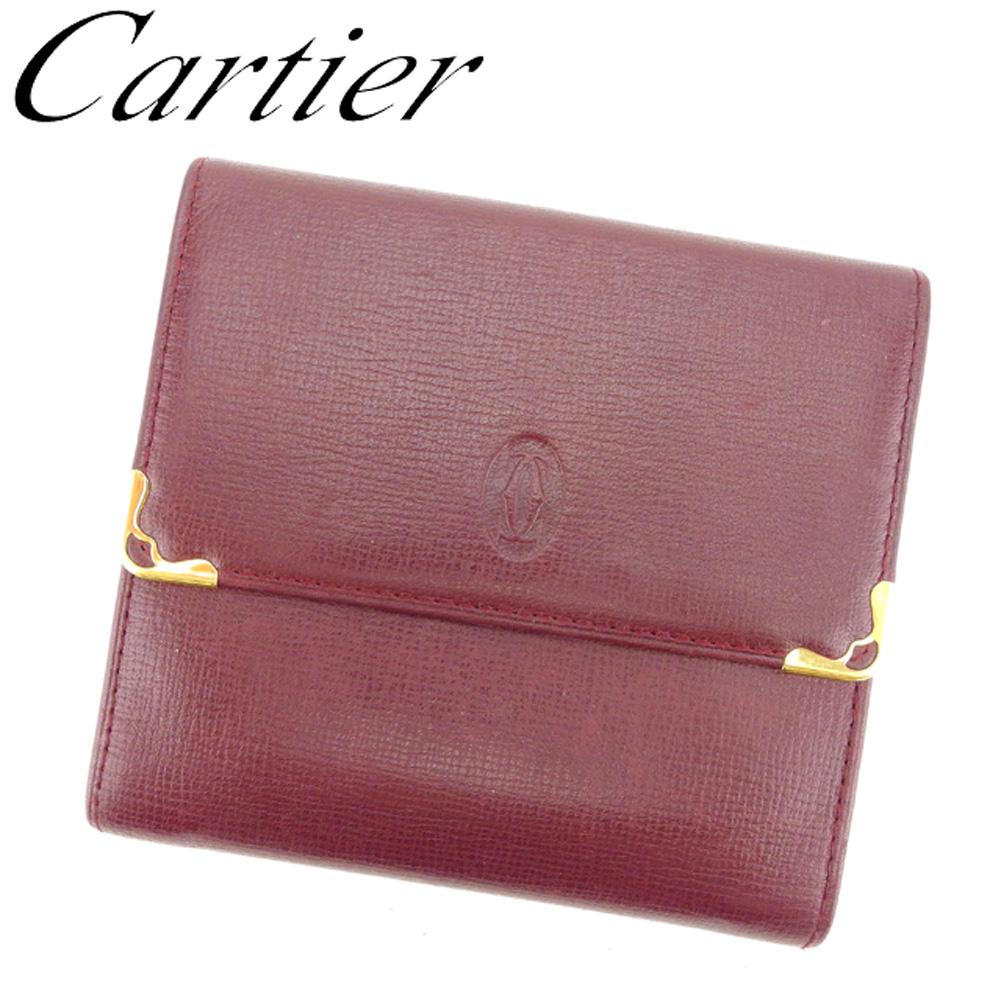 【中古】 カルティエ Cartier Wホック 財布 二つ折り 財布 レディース メンズ マストライン ボルドー レザー 人気 セール T8454 .