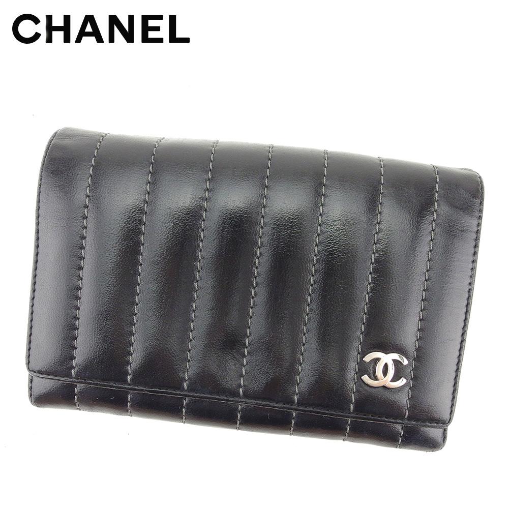 【中古】 シャネル CHANEL 二つ折り 財布 レディース メンズ ニューマドモアゼルライン ブラック 人気 セール T8461