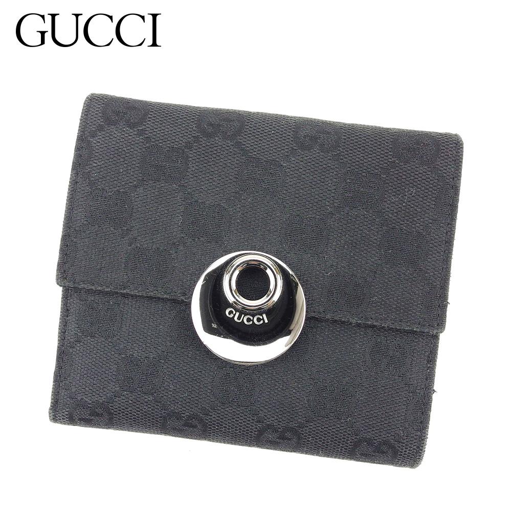 【中古】 グッチ GUCCI Wホック財布 二つ折り 財布 レディース メンズ GG柄 ブラック キャンバス×レザー 美品 セール T8462 .
