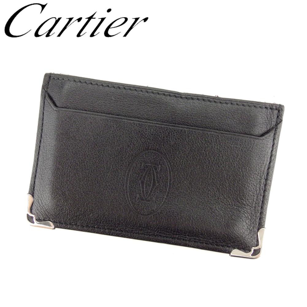 【中古】 カルティエ Cartier カードケース 名刺入れ パスケース レディース メンズ マストライン ブラック シルバー レザー 人気 良品 C3267 .