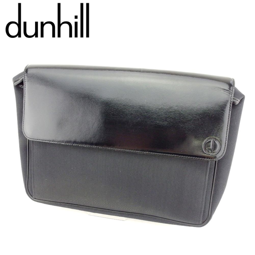 【中古】 ダンヒル dunhill クラッチバッグ セカンドバッグ メンズ dマーク ブラック キャンバス×レザー 人気 セール C3277 .