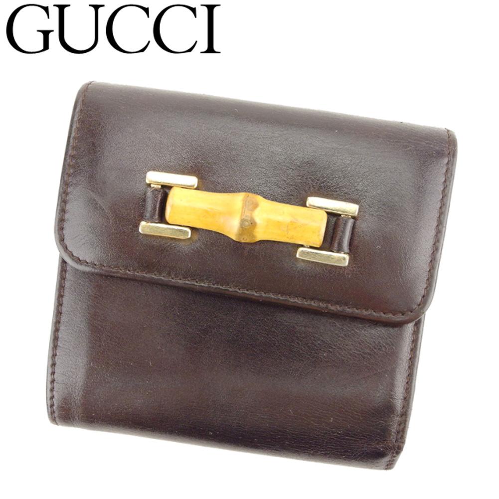【中古】 グッチ GUCCI 三つ折り 財布 がま口 レディース メンズ バンブービット ブラウン ベージュ ゴールド レザー 人気 セール C3291