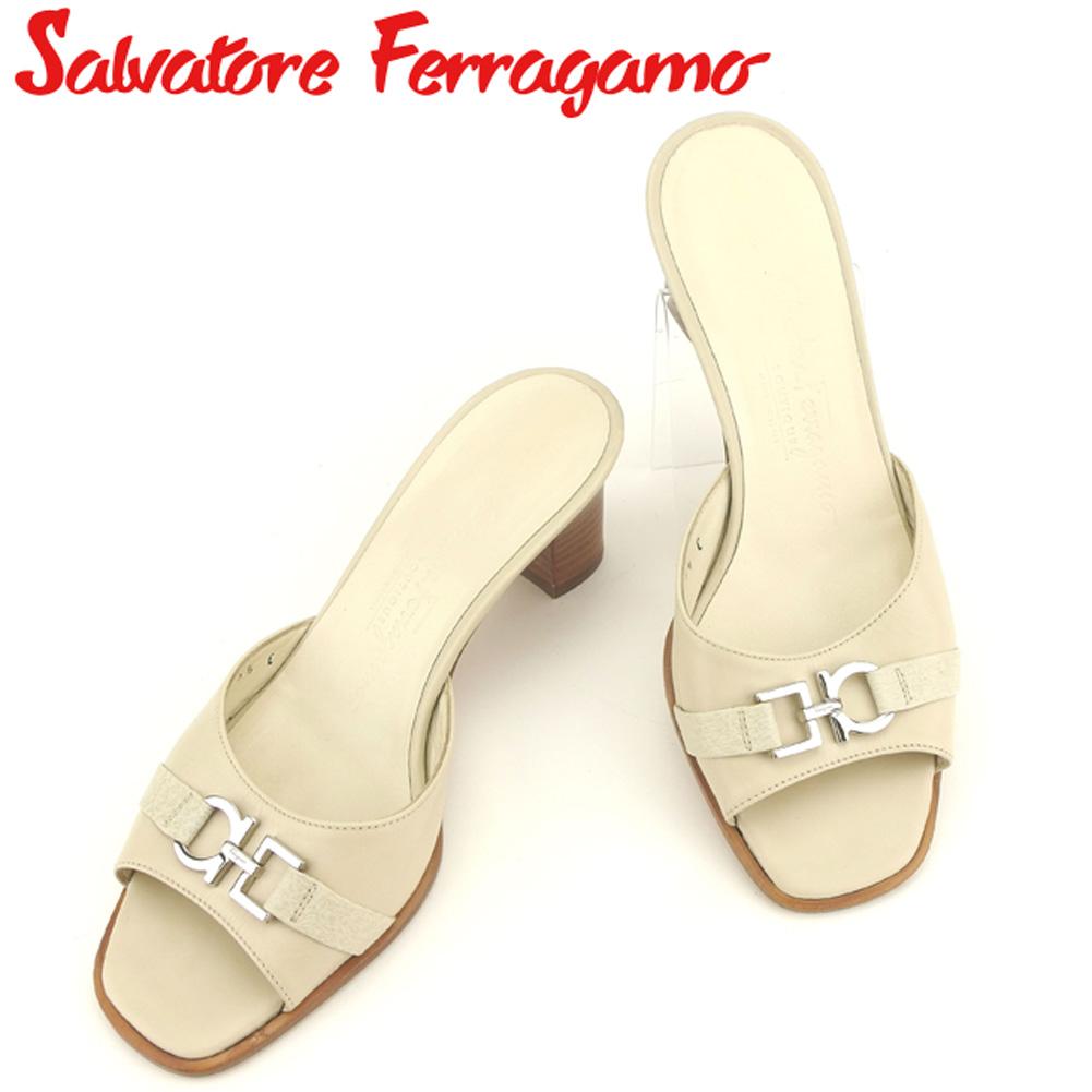 【中古】 サルヴァトーレ フェラガモ Salvatore Ferragamo サンダル シューズ 靴 レディース ♯5ハーフC ミュール ガンチーニ ベージュ ブラウン シルバー レザー 美品 セール C3297 .