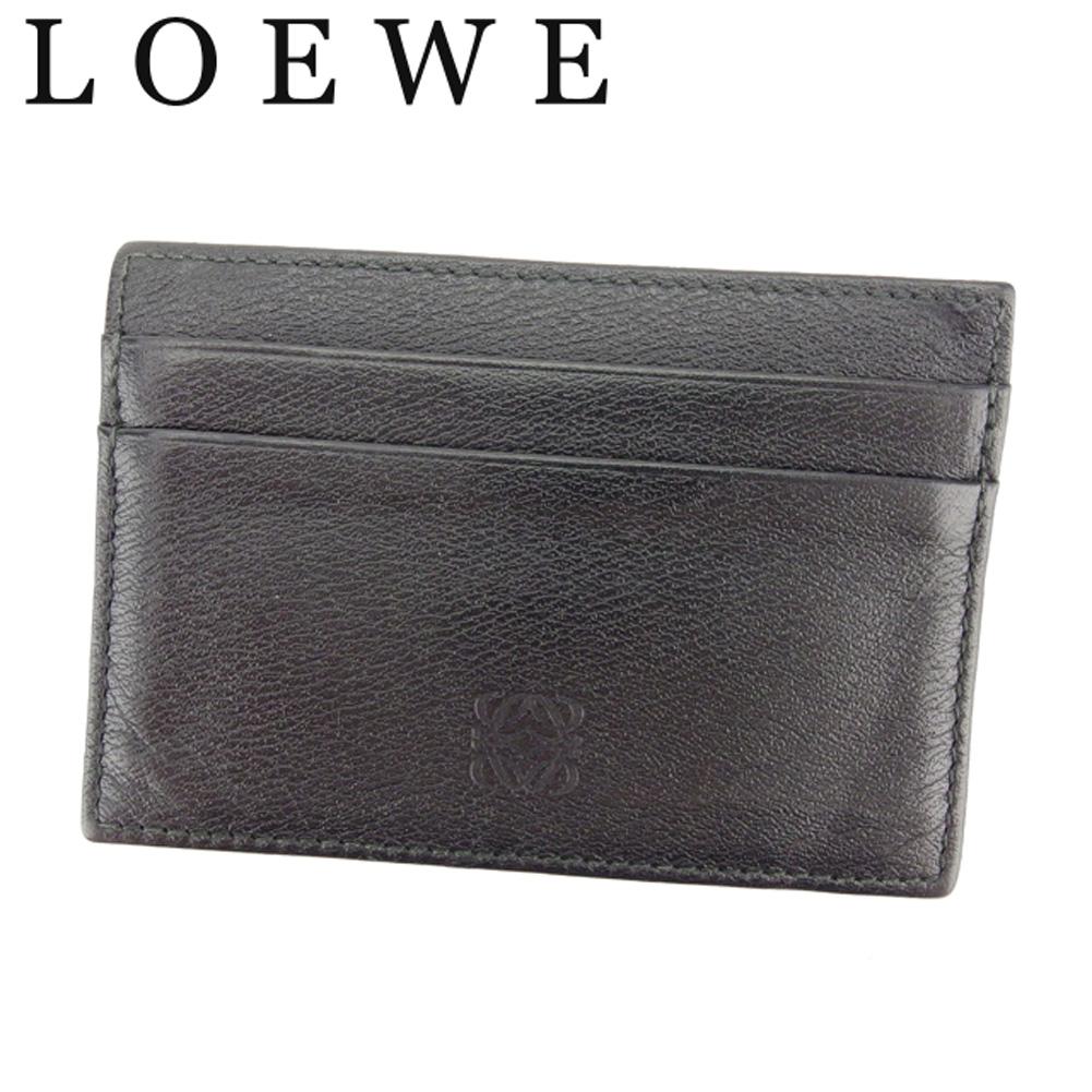 【中古】 ロエベ LOEWE カードケース カード 名刺入れ パスケース メンズ ブラック レザー C3313