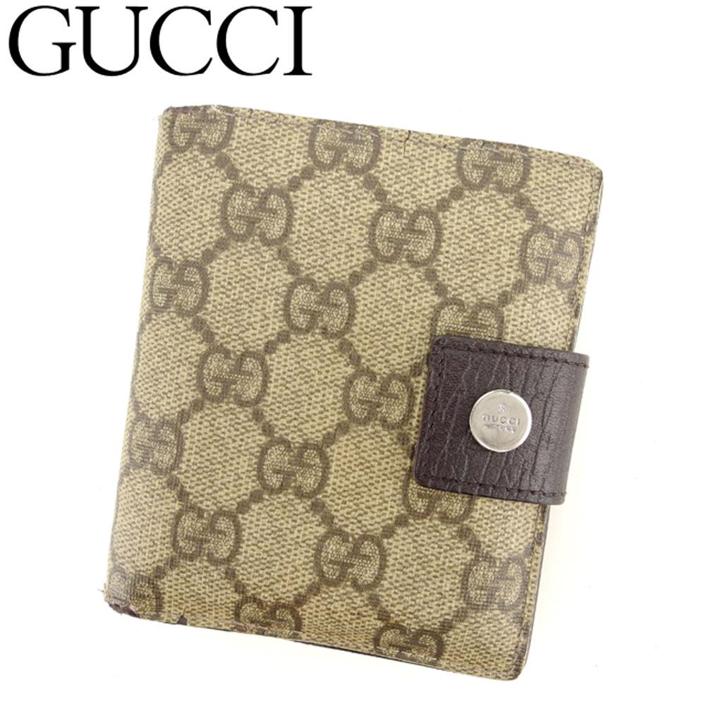 【中古】 グッチ GUCCI 二つ折り 財布 レディース メンズ GGプラス ベージュ ブラウン シルバー PVC×レザー 人気 セール C3315 .
