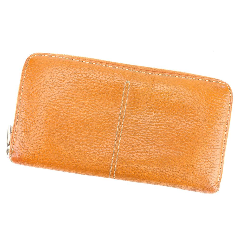 【中古】 トッズ 長財布 さいふ ラウンドファスナー オレンジ ブラウン レザー TOD'S 長サイフ サイフ 収納 ブランドブランド財布 さいふ ユニセックス 小物 人気 贈り物 迅速発送 在庫処分 1点物 C3461