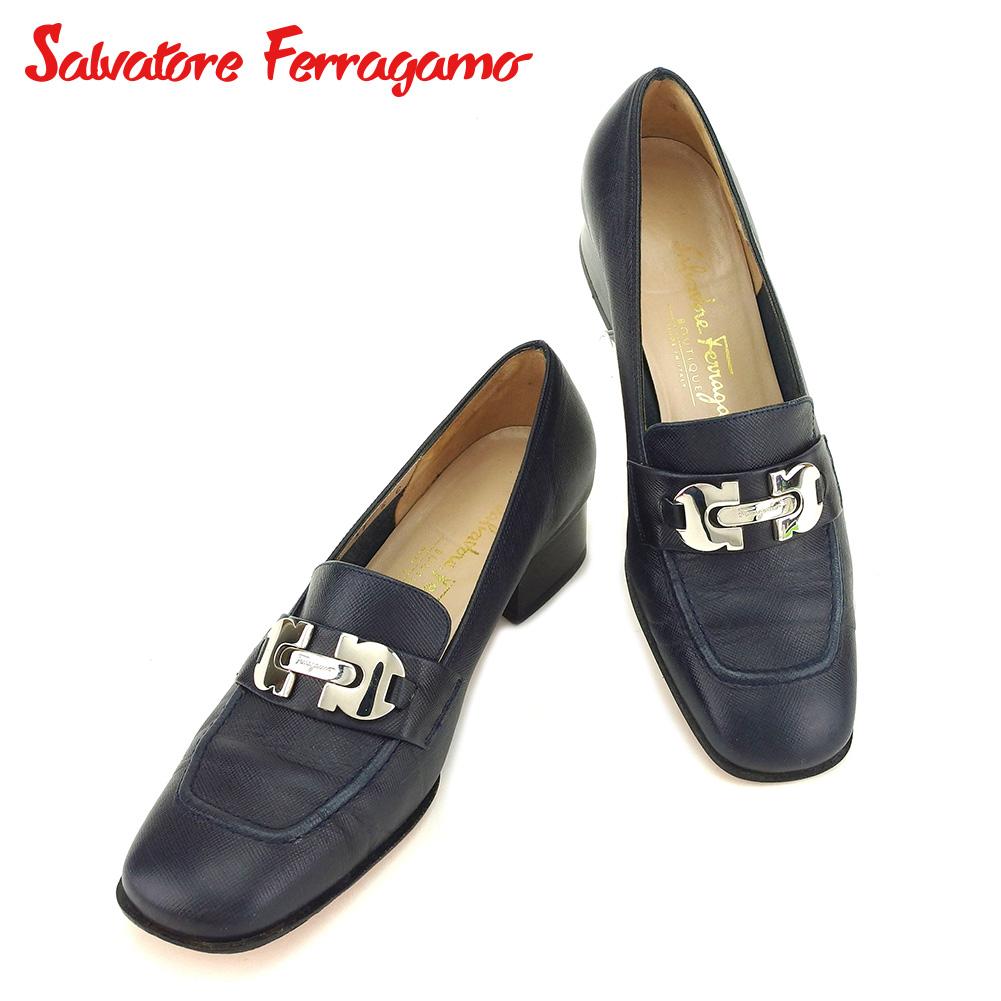 【中古】 サルヴァトーレ フェラガモ Salvatore Ferragamo パンプス シューズ 靴 レディース #5 ガンチーニ ネイビー レザー 人気 セール C3462 .