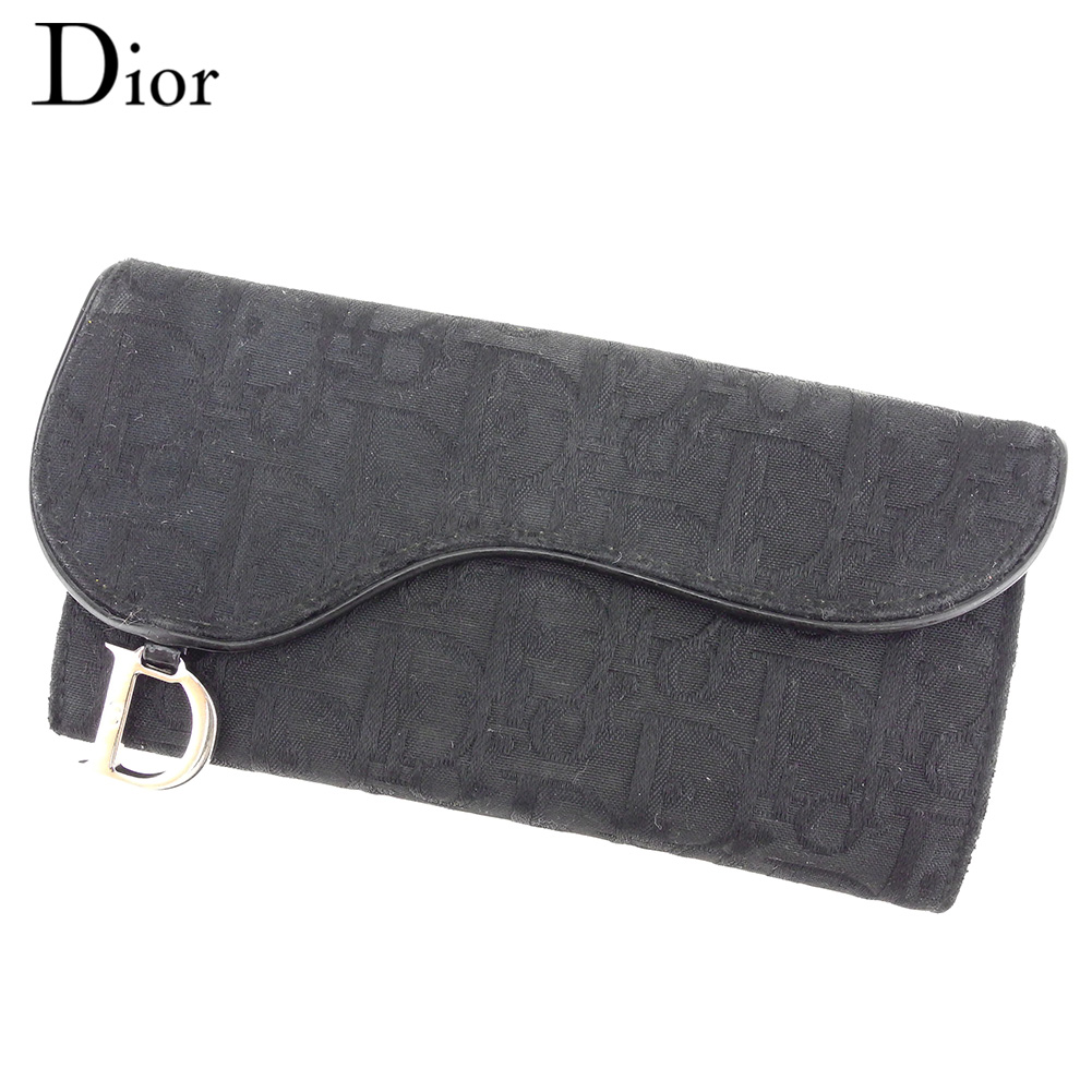 【中古】 ディオール Dior 長財布 Wホック レディース サドル トロッター ブラック キャンバス×レザー 人気 セール C3498 .