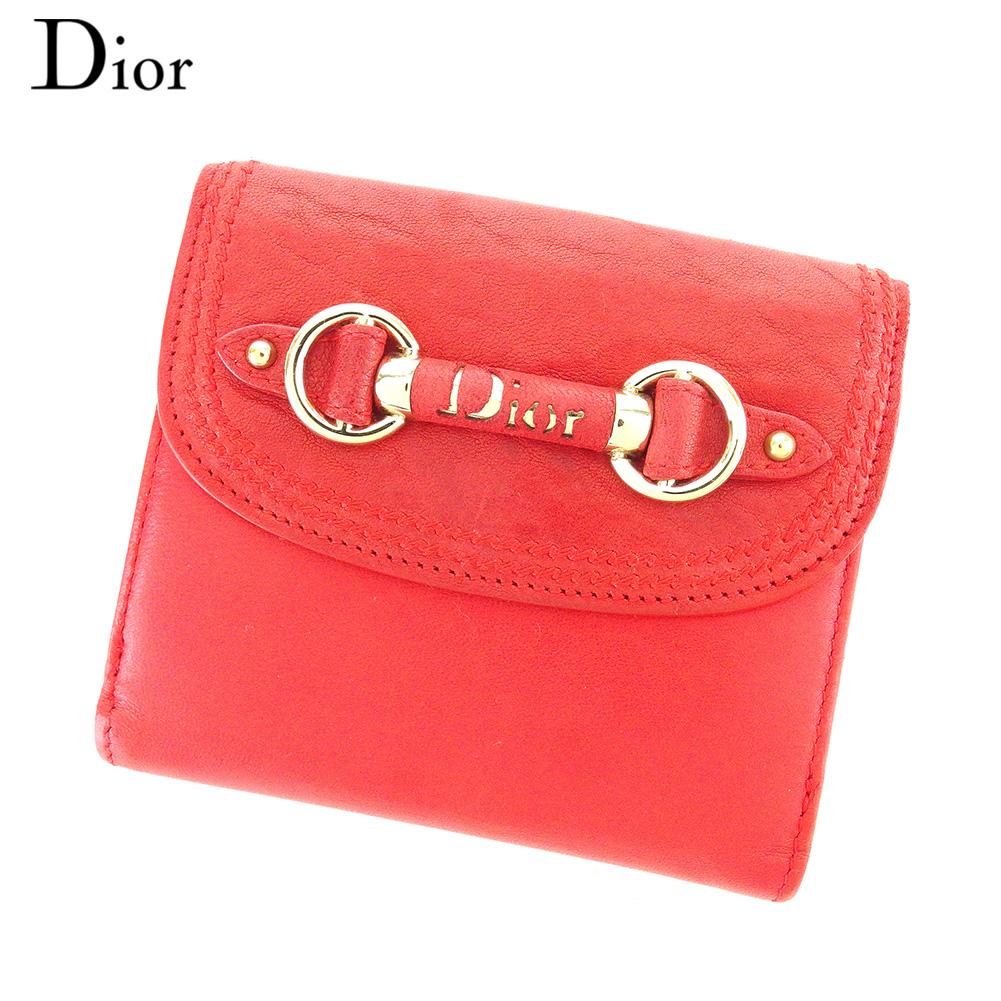 【中古】 ディオール Dior Wホック 財布 二つ折り 財布 レディース  レッド レザー 人気 セール C3499 .