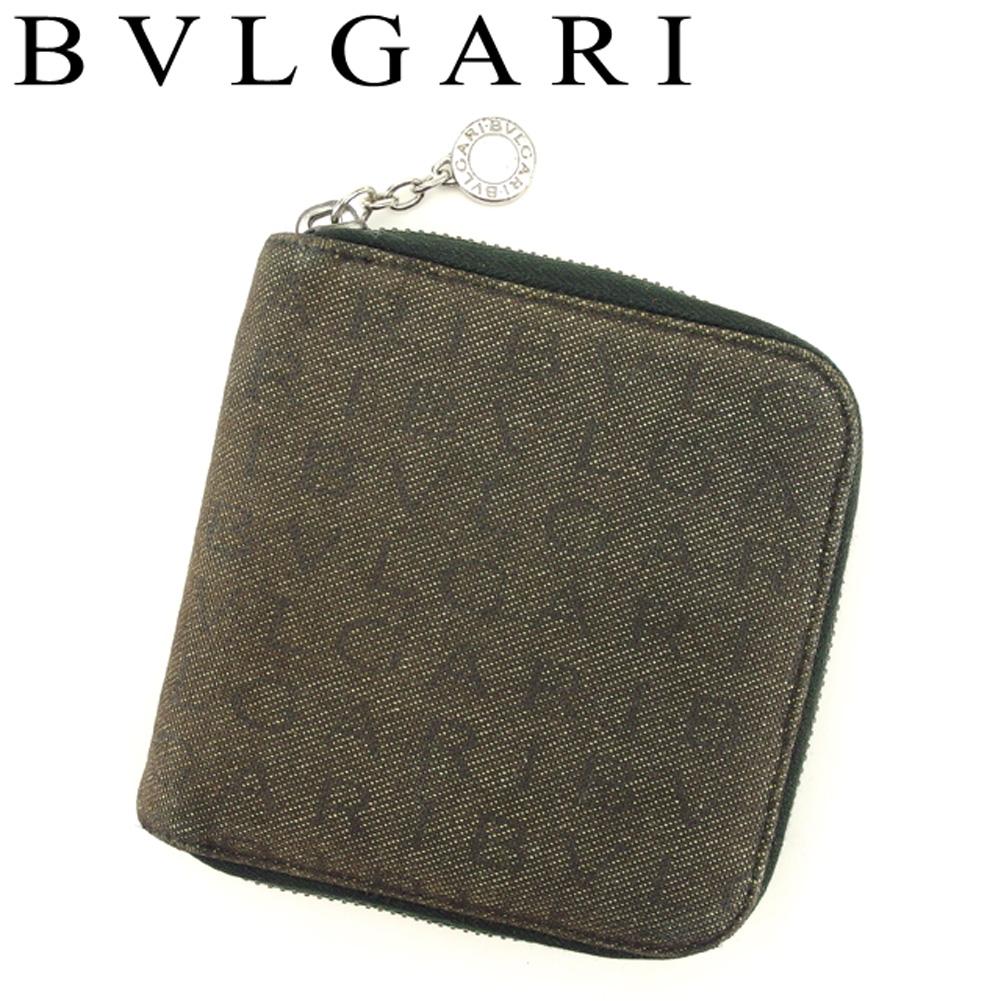 ecb253be5839 【中古】 ブルガリ BVLGARI 二つ折り 財布 ラウンドファスナー レディース メンズ ロゴマニア ブラウン ブラック