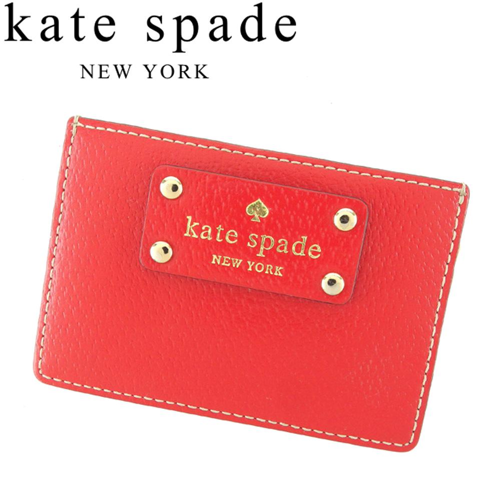 【中古】 ケイト スペード kate spade カードケース 名刺入れ パスケース レディース レッド ベージュ ゴールド レザー D1894 .