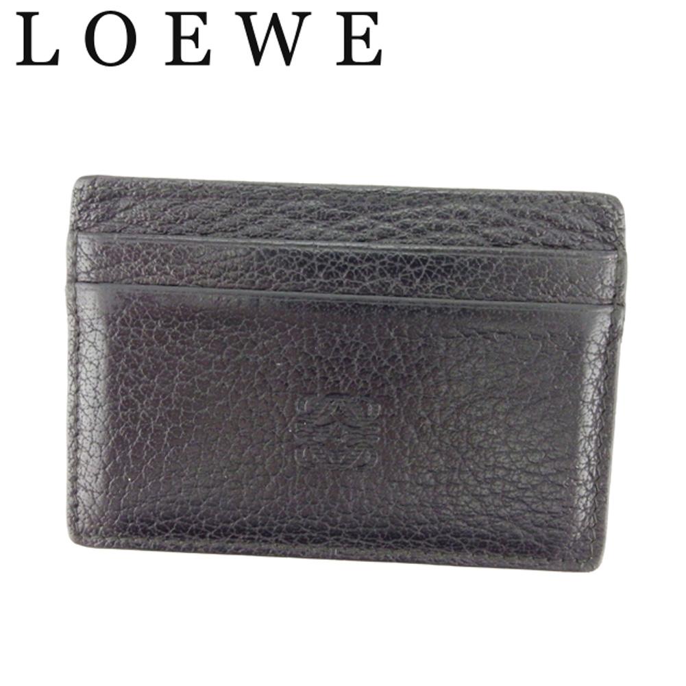 【中古】 ロエベ LOEWE カードケース 名刺入れ パスケース レディース メンズ アナグラム ブラック レザー 人気 良品 D1896