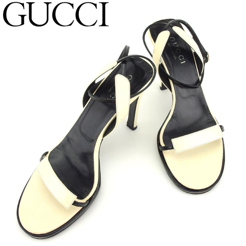 【中古】 グッチ GUCCI サンダル シューズ 靴 レディース ♯37C ハイヒール ベージュ ブラック ゴールド レザー D1905 .