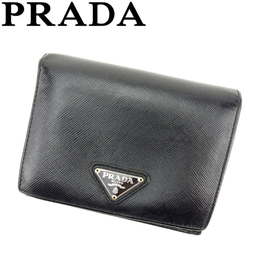 【中古】 プラダ PRADA 二つ折り 財布 レディース メンズ トライアングルロゴ ブラック シルバー ゴールド サフィアーノレザー 人気 セール D1906 .