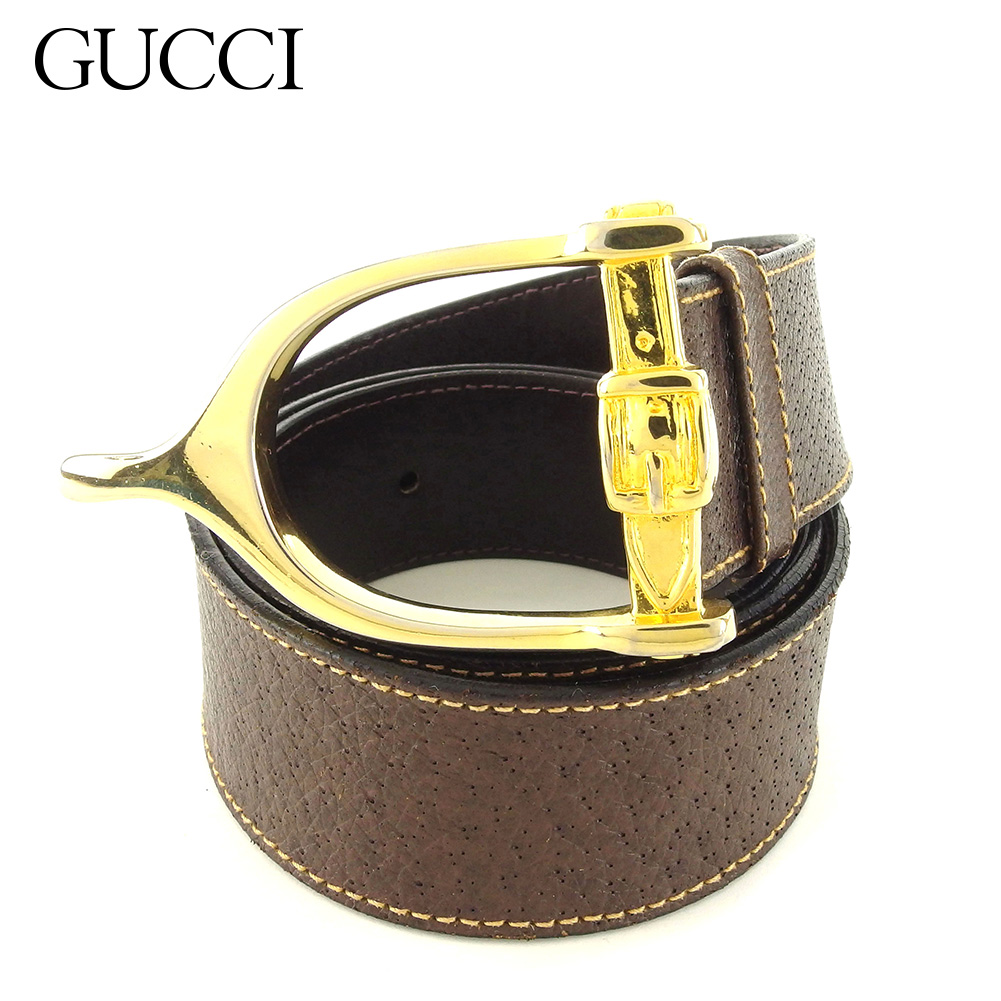f0770d316a2f Gucci GUCCI belt top-type lady's men old Gucci gold buckle brown gold  leather X ...
