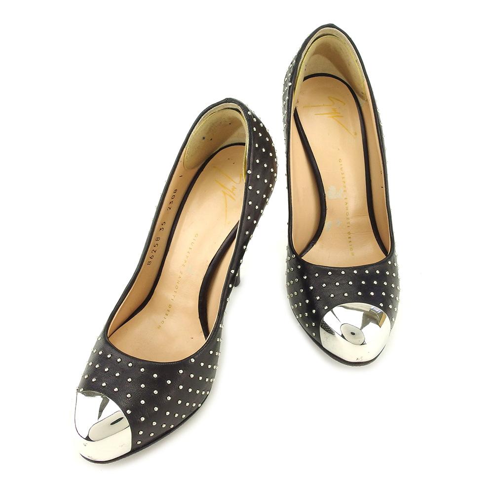 【中古】 ジュゼッペ ザノッティ Giuseppe Zanotti パンプス シューズ 靴 レディース ♯5B ハイヒール ブラック シルバー ブラウン レザー E1258